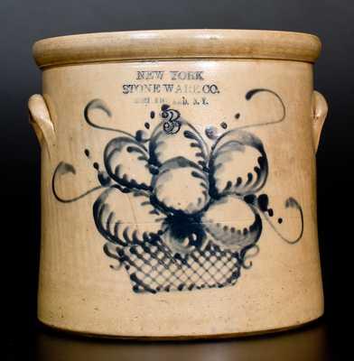 NEW YORK STONEWARE CO. / FORT EDWARD, N.Y. Stoneware Crock w/ Basket of Fruit