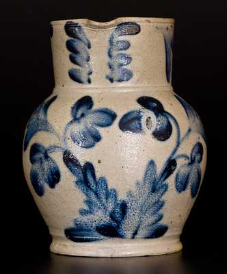 1/2 Gal. Stoneware Pitcher w/ Elaborate Floral Decoration, Henry Remmey, Philadelphia, c1850