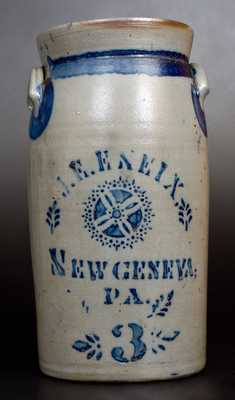 J. E. ENEIX / NEW GENEVA, PA Stoneware Churn with Stenciled Decoration