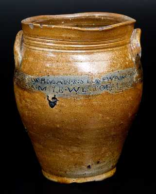 Very Rare PAUL CUSHMAN Stoneware Jar with ALBANY GOAL 1809 Coggled Inscription