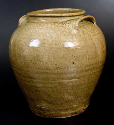 Very Fine and Rare Pottersville, Edgefield District, SC 6 Gal. Alkaline-Glazed Stoneware Jar