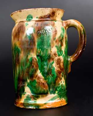 S. BELL & SON / STRASBURG, VA Multi-Glazed Redware Pitcher