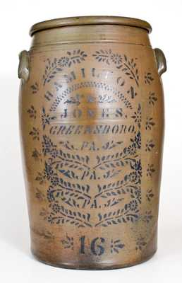 16 Gal. HAMILTON & JONES / GREENSBORO, PA Stoneware Jar w/ Profuse Stenciled Decoration