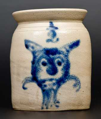 Exceptional 1/2 Gal. Stoneware Jar with Cat Face Decoration att. Cortland, NY