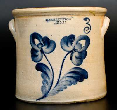 3 Gal. T. HARRINGTON / LYONS Stoneware Crock with Floral Decoration