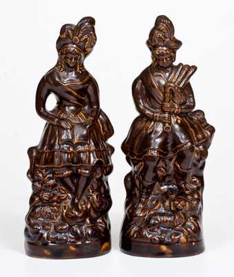 Rare Pare of Stoneware Figures att. W. H. Farrar, Geddes, NY