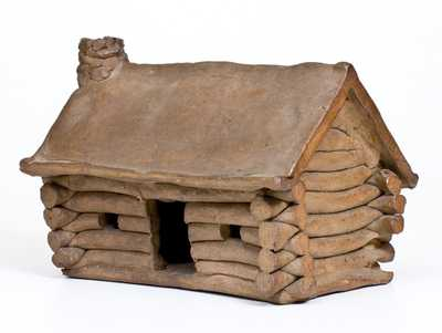 Very Unusual Hand-built Stoneware Log Cabin