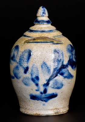 Very Rare Stoneware Bank with Floral Decoration, Baltimore, c1840
