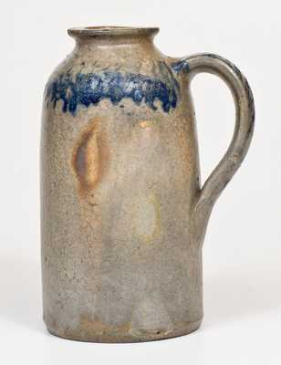 JOHN BELL / WAYNESBORO Stoneware Handled Canning Jar w/ Sponged Cobalt Decoration