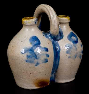 Rare Small-Sized Stoneware Gemel with Cobalt Floral Decoration, Connecticut origin, circa 1825.