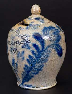 Fine and Rare Stoneware Christmas Day Presentation Bank with Cobalt Floral Decoration, Inscribed