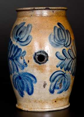 Exceptional Stoneware Rundlet with Profuse Cobalt Floral Decoration, attributed to H.H. Zigler, Newville, PA, circa 1852-1865.