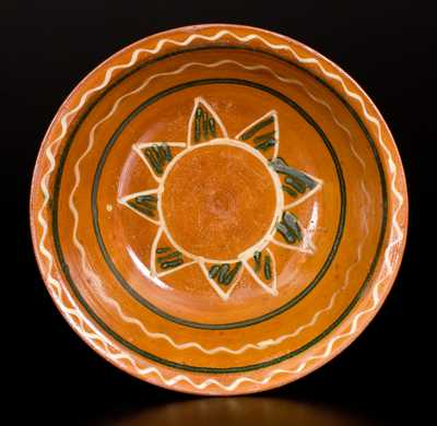 Fine Snow Hill Nunnery Redware Bowl, attributed to John Bell, Waynesboro, PA, circa 1840.