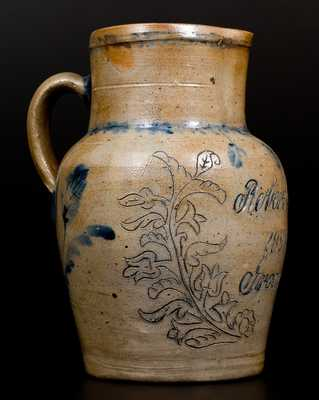 Extremely Rare Three-Quart Remmey Stoneware Presentation Pitcher,