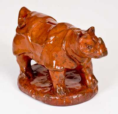 Possibly Unique Glazed Redware Rhinoceros Bank, Pennsylvania origin, second half 19th century.
