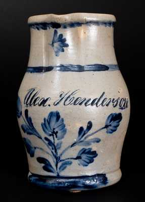 Fine Three-Quart Stoneware Presentation Pitcher with Cobalt Floral Decoration, Inscribed