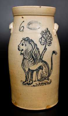 Very Fine 6 Gal. J. BURGER JR. / ROCHESTER, NY Stoneware Churn with Slip-Trailed Lion Decoration