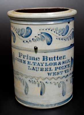 Extremely Rare PRIME BUTTER / LAUREL, POINT, W. VA Stoneware Advertising Crock
