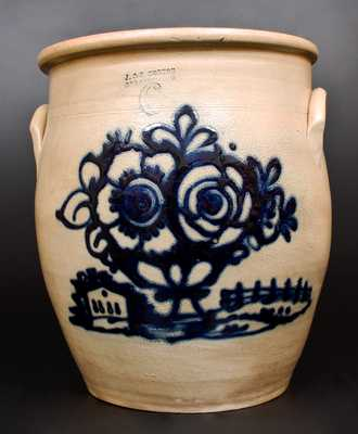 Exceptional J. & E. NORTON / BENNINGTON, VT Stoneware Jar with Basket-of-Flowers and House Scene Decoration Incised