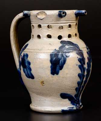 Exceedingly Rare and Important Stoneware Puzzle Mug with Cobalt Floral Decoration, attributed to Richard C. Remmey, Philadelphia, PA, circa 1875.