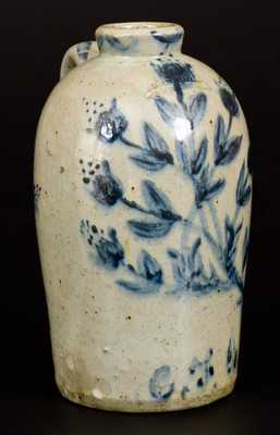 Extremely Rare and Fine JOHN BELL / WAYNESBORO Celadon-Glazed Stoneware Jug with Elaborate Cobalt Floral Decoration Inscribed