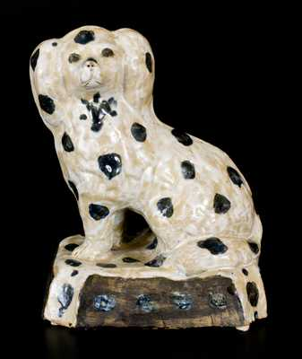 Extremely Rare and Important A. P. Donaghho Decorated Stoneware Spaniel Inscribed