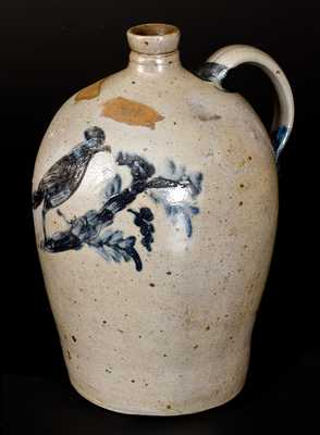 Extremely Rare Stoneware Jug with Incised Bird Decoration att. Henry Remmey, Baltimore, MD, 1812-1827
