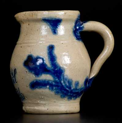 Very Rare and Fine Miniature Stoneware Presentation Pitcher with Cobalt Floral Decoration, Incised