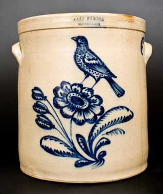 Outstanding JOHN BURGER / ROCHESTER Stoneware Crock with Fine Bird on Floral Decoration