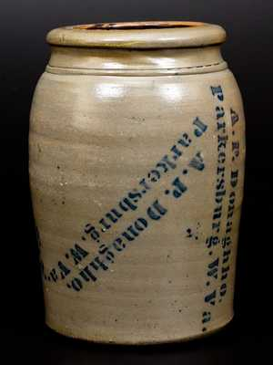 Very Unusual 1 Gal. A. P. DONAGHHO / PARKERSBURG, W. VA Stoneware Jar with Profuse Maker s Stenciling