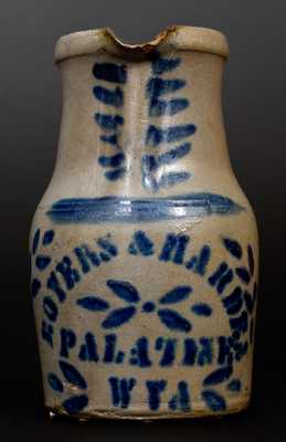 Fine 1 Gal. BOYERS & HARDEN / PALATINE, W. VA Stoneware Pitcher with Stencilled and Freehand Decoration