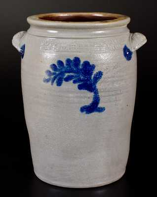 Very Fine 3 Gal. MORGANTOWN POTTERY Stoneware Jar with Elaborate Coggled House Scene and Cobalt Decoration
