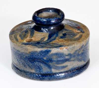 Very Rare Stoneware Inkwell with Profuse Cobalt Floral Decoration, Baltimore, circa 1825