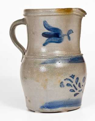 Fine and Rare Western PA Stoneware Pitcher w/ Stenciled and Freehand Cobalt Decoration