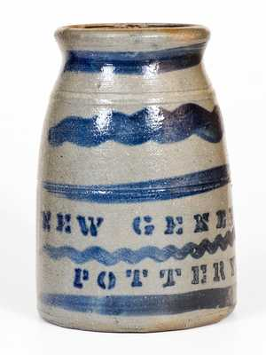 Possibly Unique Stoneware Canning Jar with Cobalt Tree Decoration, Stenciled