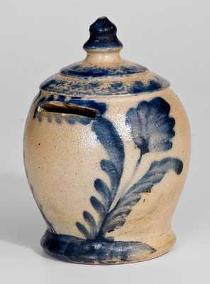 Rare and Fine Stoneware Bank with Cobalt Floral Decoration, att. Richard C. Remmey, Philadelphia, PA