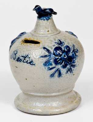 Extremely Rare Cobalt-Decorated Stoneware Bank with Applied Decoration and Bird Finial, probably Richard C. Remmey, Philadelphia, PA, late 19th century.