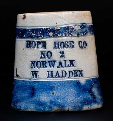 Very Rare Norwalk, CT Fire Department Stoneware Advertising Mug for HOPE HOSE CO.