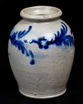 Very Fine Pint-Sized Stoneware Jar with Slip-Trailed Decoration, Baltimore, circa 1820