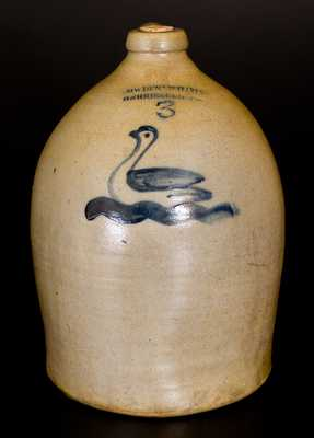 3 Gal. COWDEN & WILCOX / HARRISBURG, PA Stoneware Jug with Swan Decoration