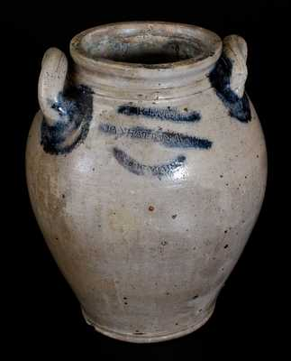 J. REMMEY / MANHATTAN WELLS / NEW YORK Stoneware Jar with Incised Decoration, circa 1810