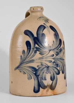 3 Gal. M. & T. MILLER / NEWPORT, PA Stoneware Jug with Elaborate Floral Decoration