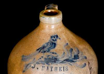 Exceptional Small-Sized Squat Stoneware Jug with Incised Bird and Impressed Presentation Inscription Dated 1862