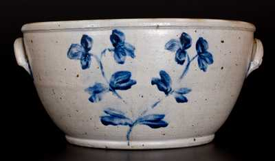 Extremely Rare Large-Sized Stoneware Bowl with Floral Decoration, Baltimore, circa 1870
