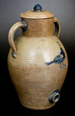 Extremely Rare and Important John Floyd, Knox County, TN, Stoneware Water Cooler with Incised Bird Decoration Dated 1840