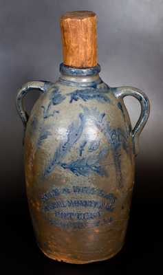 Extremely Rare 10 Gal. RICE & BROYLES / LINSBURG, W.VA Stoneware Double-Handled Jug with Elaborate Floral Decoration