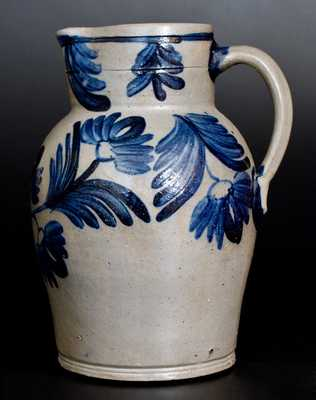 Very Fine 1 1/2 Gal. Stoneware Pitcher with Profuse Floral Decoration, Baltimore, circa 1840