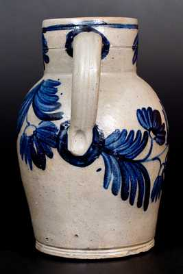 Very Fine 1 1/2 Gal. Stoneware Pitcher with Profuse Floral Decoration, Baltimore, c1840