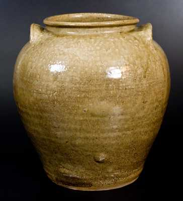 Very Fine and Rare Pottersville, Edgefield District, SC 6 Gal. Alkaline-Glazed Stoneware Jar with Impressed