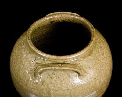 Very Fine and Rare Pottersville, Edgefield District, SC 6 Gal. Alkaline-Glazed Stoneware Jar